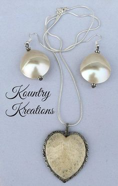 Shell Earrings and Necklace Shell and by KountryInspirations