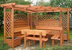 ideas for life Gazebo On Deck, Backyard Pergola, Pergola Plans, Backyard Swings, Backyard Sheds, Garden Furniture, Garden Design, Outdoor Living, Arbour