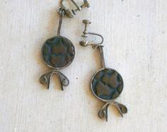 Vintage Silver and Stone Israeli Earrings