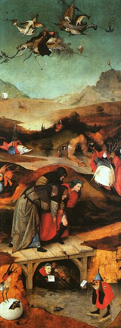 Hieronymus Bosch – born Jheronimus van Aken, Inner left wing of a triptych depicting The Temptation of Saint Anthony, between 1495 and oil on panel Height: cm in). Width: 53 cm in). Hieronymus Bosch, Temptation Of St Anthony, Renaissance Kunst, Dutch Painters, Dutch Artists, Oil Painting Reproductions, Medieval Art, Fantastic Art, Religious Art