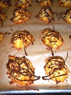 Orange Coconut Macaroons.  Slightly obsessed with this bakery.  They are so simple just sugar, butter, orange zest, eggs and LOTS of coconut then drizzled with chocolate