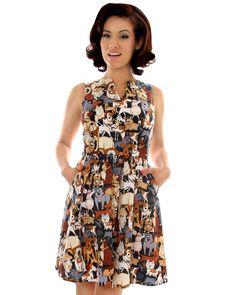 dog retro dress, vintage dog dress, rockabilly dog dress