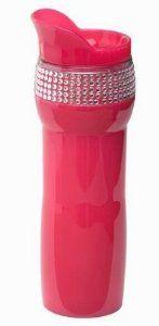 Fashion Forward Travel Mug with Rhinestones Hot Pink and Black BPA-free For Her