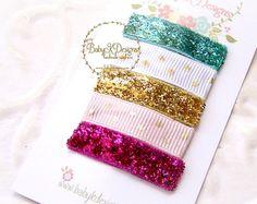 Baby Girls Gold Glitter n Pink Newborn Hair Bow by BabyKDesigns