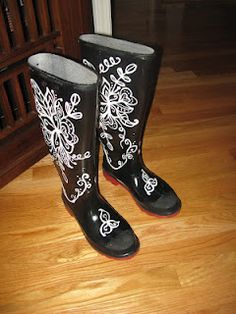 painted rain boots