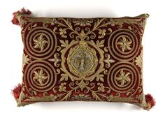 Late 17th century Cushion at the Philadelphia Museum of Art, Philadelphia - This cushion, made in Europe, makes extensive use of metallic thread embroidery.  The rich colours and dense ornamentation are characteristic of the Baroque style.