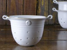 White colander  hand-thrown pottery by TrawdenPottery on Etsy