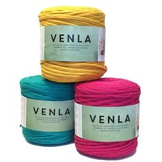 """Venla """"T-Shirt yarn"""" for crocheting. One coil is enough for crocheting approximately cm. Yarn Store, Knitting, Yarns, Crocheting, Weave, Shops, Crafts, Color, Tents"""