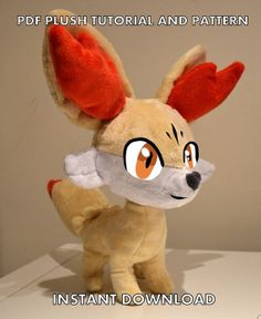 Fennekin Pokemon Plush Sewing Pattern Tutorial by PulsefireKitten, £10.00