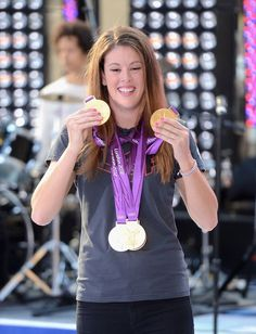 Olympic Gold Medal Winner Allison Schmitt at Rockefeller Plaza on August 17, 2012 in New York City.