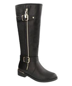 Look at this #zulilyfind! Black Ginger Buckle-Accent Boot #zulilyfinds