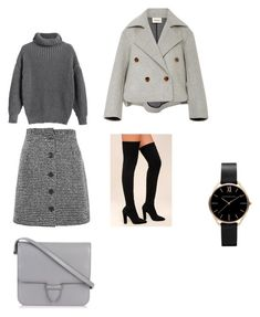 Chic and fabulous with grey by anghar on Polyvore featuring polyvore fashion style Khaite Topshop Bamboo Alaïa clothing