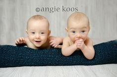 6 month old twins photo idea pose  angie koos photography
