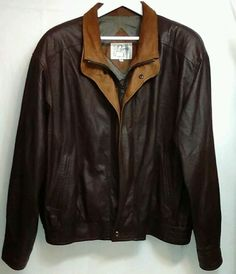 REMY Double Collar SZ 46 Brown Soft Leather Bomber Style Jacket Coat MSRP $1095 #Remy #FlightBomber