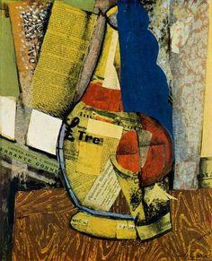 Carlo Carra, Bottle and Glass oil painting. Italian Painters, Italian Artist, Umberto Boccioni, Italian Futurism, Futurism Art, Cubism Art, Art Database, Illustration Art, Painting