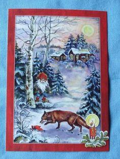 GNOME and FOX    Sweden Tomte Nisse Santa Elf  Card