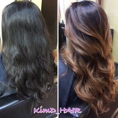 Black to brown baylayage ombre