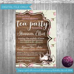 "Tea Party Bridal Shower Invitation ""Tea & Roses"" Collection (Printable File Only) Tea Party Wedding Elegant Vintage Bride"