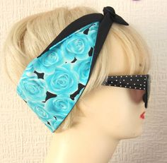 Rose Print Rockabilly Hair Tie Scarf Wrap by Dolly by DollyCool