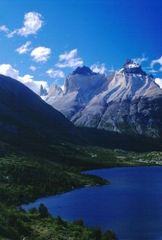 The beautiful Cuernos peaks in Torres del Paine, Chilean Patagonia.