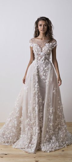 Short sleeves floral applique illusion neckline sheath wedding dress detachable skirt : Dimitrius Dalia Wedding Dress - Diamond Bridal Collection