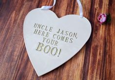 Personalized Heart Wedding Sign - to carry down the aisle and use as photo prop by Susabella #weddingsigns #photoprop #weddingideas