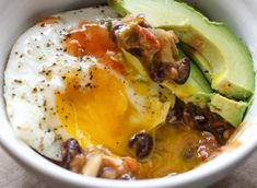 Refried Beans with Avocado & Fried Eggs Holy smokes, this was delish! Filling, tasty, healthy, fast, easy, and simple! *Drools* Will make many more times! Excellent!
