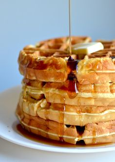 Hotel Waffles   Makes about 6 waffles (depending on your waffle iron)    6 eggs  1/3 cup vegetable oil  1 cup milk  1 teaspoon vanilla  1/3 cup sugar  2 cups flour  1/2 teaspoon salt  1 tablespoon baking powder