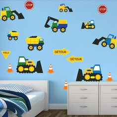 Boys bedroom stickers - Construction Cone Zone Wall Decor Restickables - $55