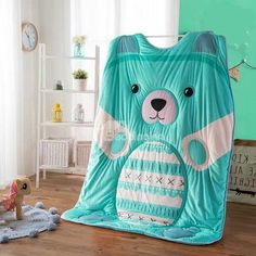 Super Likable Blue Bear Shaped Soft Quilt