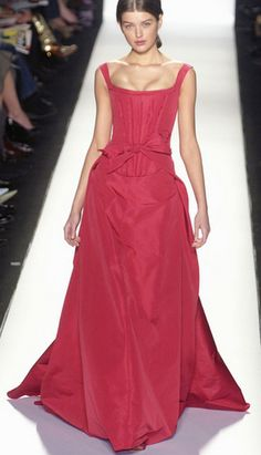 2. Carolina Herrera Fall 2005: the bodice of this gown was inspired by the Stays/Pair of Bodys from the Northern Renaissance, with its stiffened bodice, fastened at the back with laces or clasps