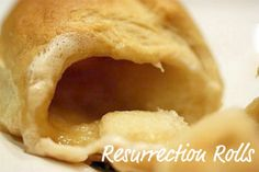 "Empty Tomb Rolls We do these every year & the kids look forward to it. Resurrection Rolls for Easter. Demonstrates how the tomb was empty after Jesus rose. You place a marshmallow (rolled in butter & cinnamon/sugar mixture) in a crescent roll, seal, and bake. When they are done the marshmallow will have melted and your ""tomb"" is empty. Love this, you might too @Leanne H"