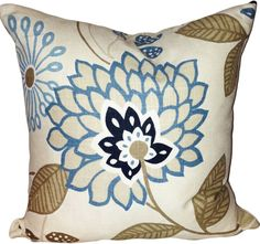This Fabricut Blue Floral Decorative Pillow Cover is a Beautiful Modern Throw Pillow, that Showcases the ..KOBUS SEASIDE.. Print Designer