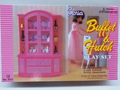 Gloria-Barbie-Doll-House-Furniture-9511-Buffet-Hutch-Play-Set