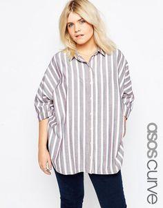 ASOS Curve | ASOS CURVE Oversize Shirt In Natural Stripe at ASOS