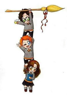 WallPotter: Harry Potter, Ron Weasley e Hermione Granger Fanart Harry Potter, Harry Potter Ron, Harry Potter Cartoon, Harry Potter Drawings, Harry Potter Tumblr, Harry Potter Pictures, Harry Potter Wallpaper, Harry Potter Characters, Kawaii 365