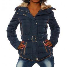 Női kapucnis kabát - 1630 - sötétkék - S