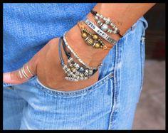 BOHO Leather Bracelet Adjustable Black Knotted by WrappedinYou