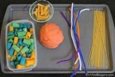 Dried pasta, pipe cleaners, and some Play Dough - you'll keep the kids busy for hours!
