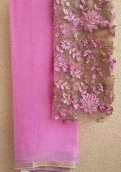 Pink saree with embroidered blouse piece