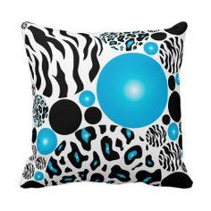 turquoise zebra bedroom | Turquoise Blue Zebra and Lepard Print Pillow - Zazzle.com.au