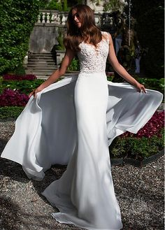 Buy discount Attractive Tulle & Chiffon Jewel Neckline Sheath Wedding Dresses With Beaded Lace Appliques at Magbridal.com
