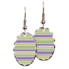 Modern striped earrings purple green yellow stripes #cafepress #earrings #jewelry