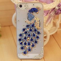3D Rhinestone Bling Crystal Peacock Phone Case