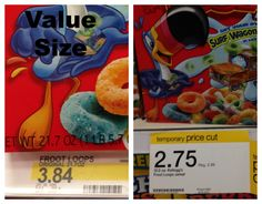 Calculate the unit price for Fruit Loops Target