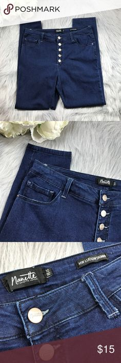 "[Nanette Lepore] Dk Blue High-Waist Skinny Jeans Such a chic, high-waisted style! I love the front & back pockets, and button detailing down the front. Perfect for my fellow curvy girls 💁🏾  • Excellent pre-owned condition. The dark blue color is still incredibly vibrant.  • Measurements: Inseam 26.5"", Rise 10.5"", Waist 15"" (straight across, laying flat)  No trades, please :) Nanette Lepore Jeans Skinny"