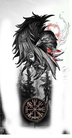 Norse Mythology Tattoo, Norse Tattoo, Celtic Tattoos, Viking Tattoo Symbols, Celtic Raven Tattoo, Viking Compass Tattoo, Viking Tattoos For Men, Viking Warrior Tattoos, Best Sleeve Tattoos