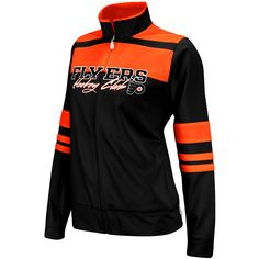 Philadelphia Flyers Ladies Black-Orange Striped Hockey Club Full Zip Track Jacket