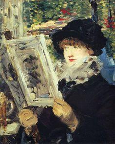 Édouard Manet, Mujer leyendo (Le journal illustré), 1879. Óleo sobre lienzo, 50.7 x 61.2 cm, Art Institute of Chicago, EE. UU.