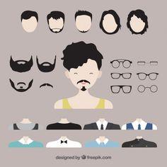Men avatar creator Free Vector Hipsters, Vector Pop, Vector Free, Beard Silhouette, Emoji Templates, Cartoon Faces Expressions, Pirate Face, Human Vector, Female Avatar